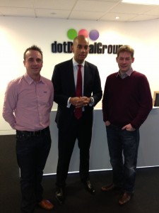 Chuka Umunna with Tink Taylor and Simon Bird, founders of dotdigital Engagament Cloud