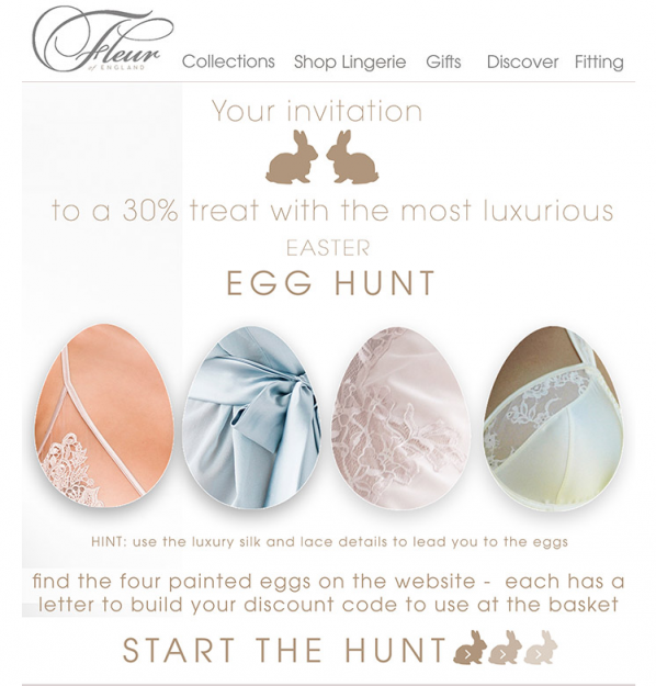 Fluer screen shot. Your invitation to a 30% treat with the most luxurious easter