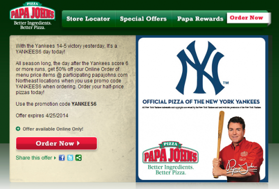 Click to Enlarge Papa Johns US Promotional Email