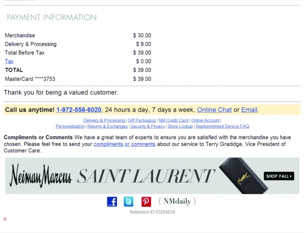 An example straight out of our whitepaper. American luxury specialty department store, Neiman Marcus, treats its purchase confirmation emails just like real human checkout in one of their stores.