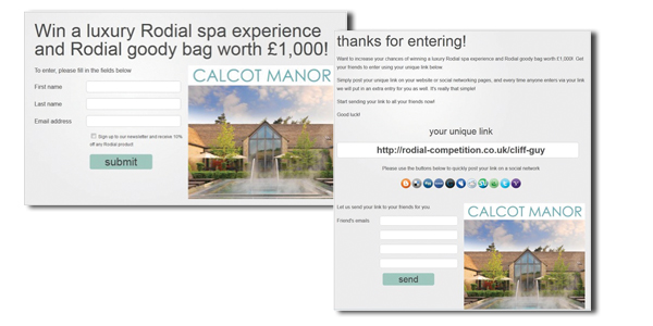 Rodials Spa Giveaway - a great example of a referral campaign