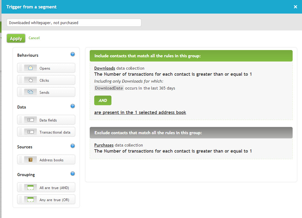 Here's a setup screen for setting up your segment in the start node...