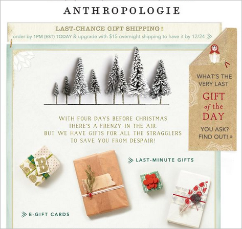 Anthropologie. Last chance gift shipping. E-gift cards