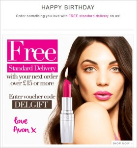 Avon Happy Birthday email