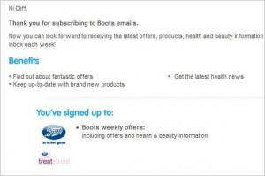 Boots welcome email