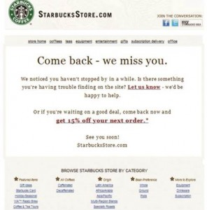 Starbucks lapsed customer email