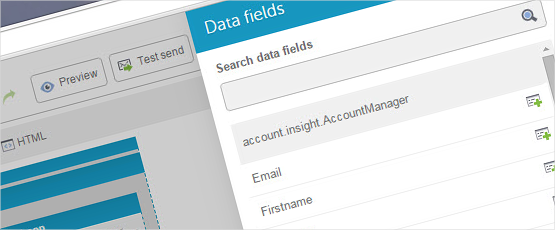 Screenshot: By storing account manager data, you get access to the data fields in our email and landing page editors