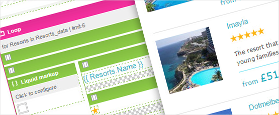 Screenshot: Create one block for your resort data and it is replicated for each resort in your emails and landing pages