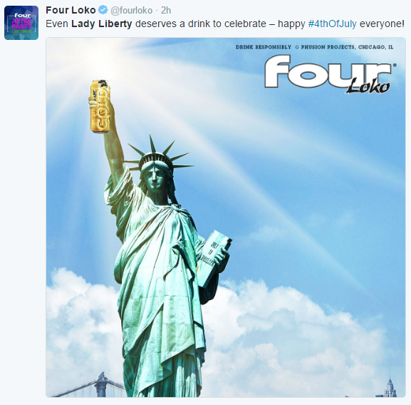 Four Loko and Lady Liberty on Twitter