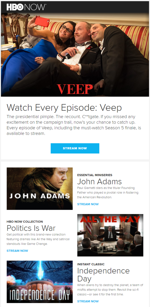 HBO NOW recommendations email