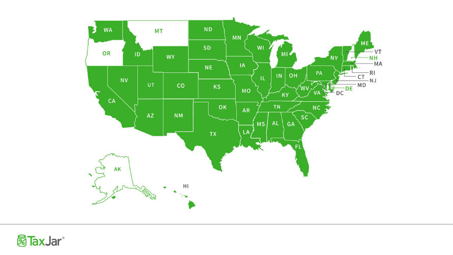 Sales tax states map. What Creates Sales Tax Nexus in Every State