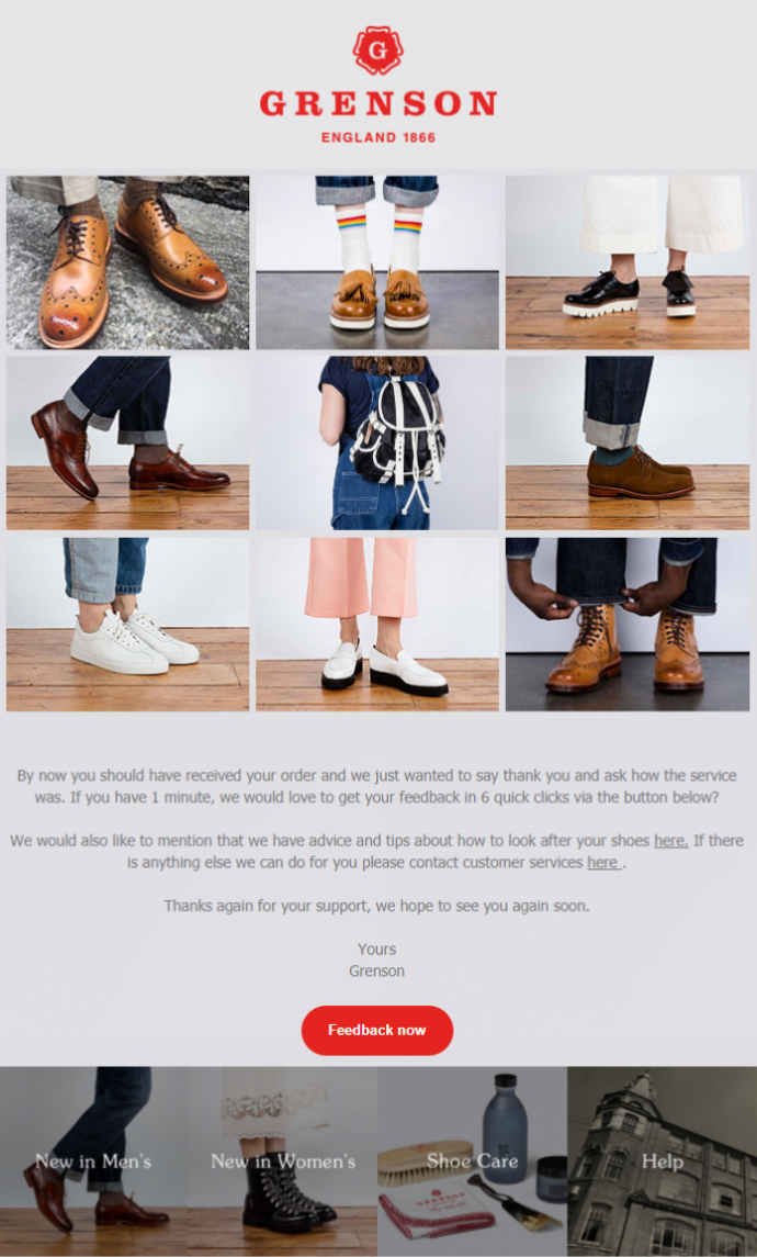 Grenson's thank you email sent from dotdigital Engagement Cloud