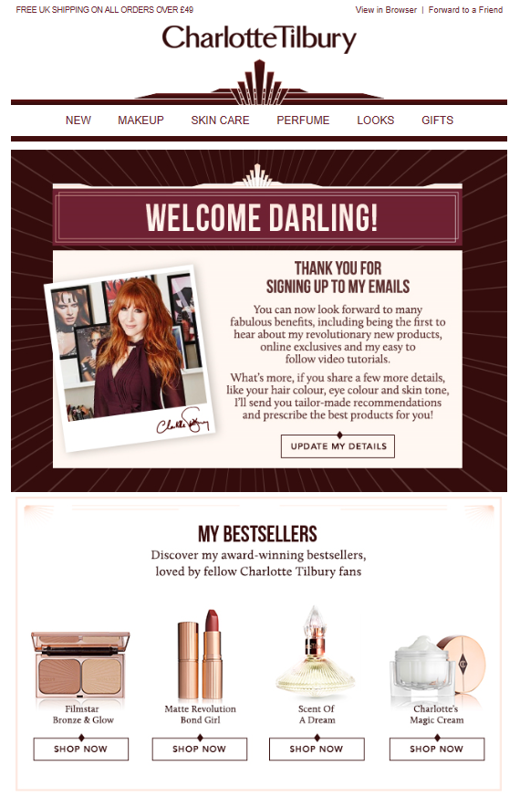 Charlotte Tilbury Welcome email