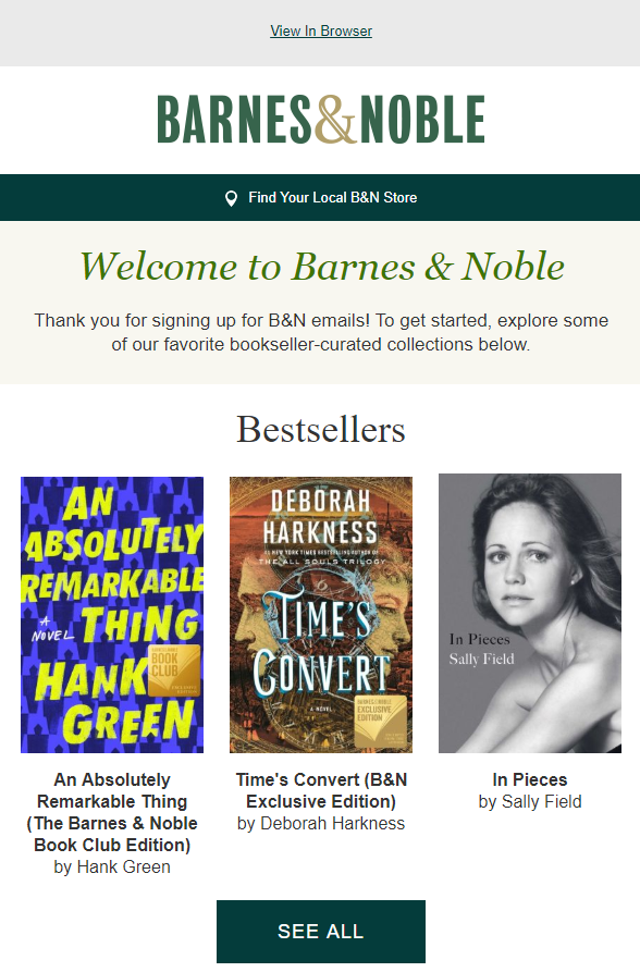 Barnes & Noble welcome product recommendations
