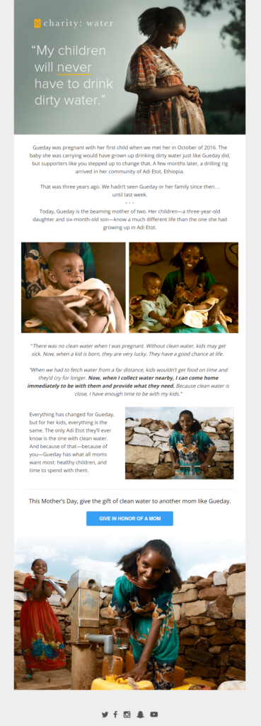charity: water newsletter