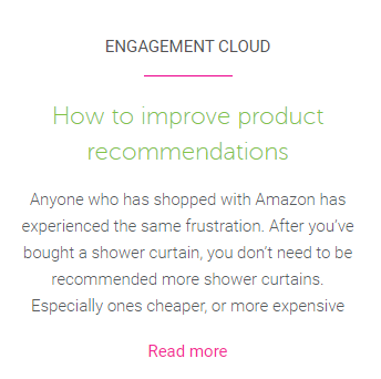Product recommendations blog suggestion