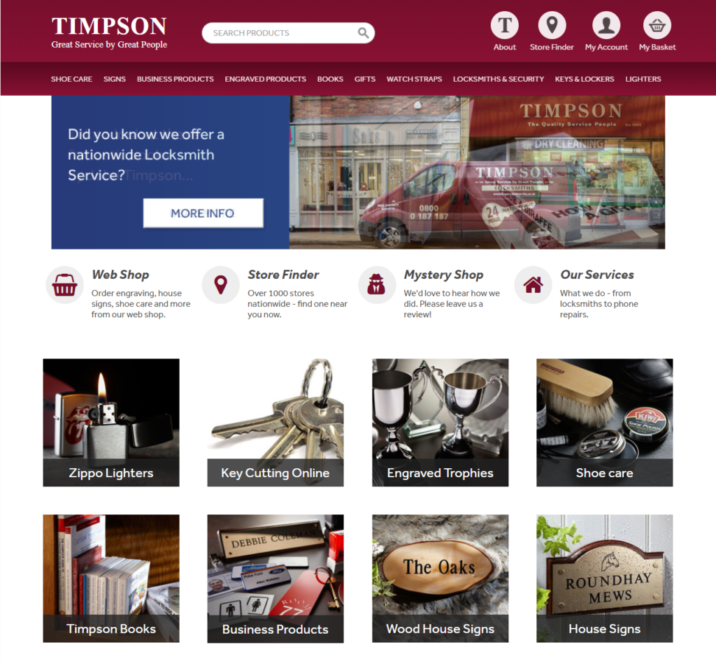 Timpson Black Friday homepage