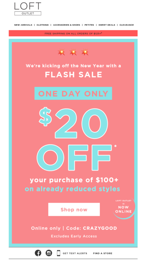 Flash sale email