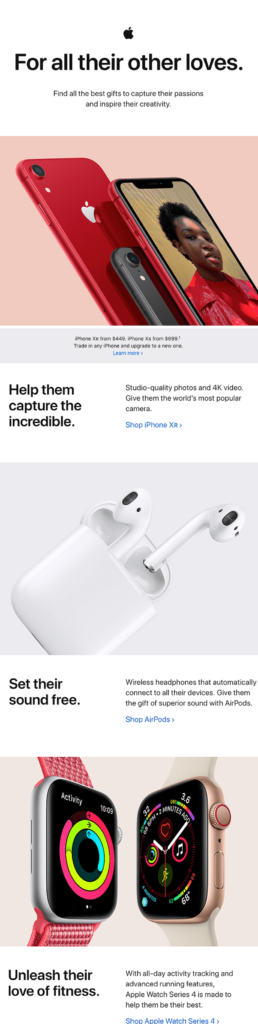 Email from Apple about Valentine's Day presents