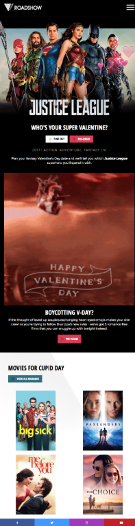 Roadshow Films email pre-Valentine's Day