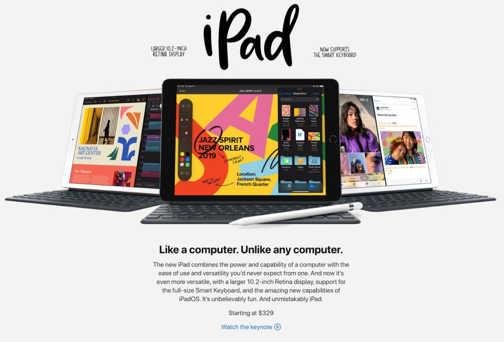 iPad product page