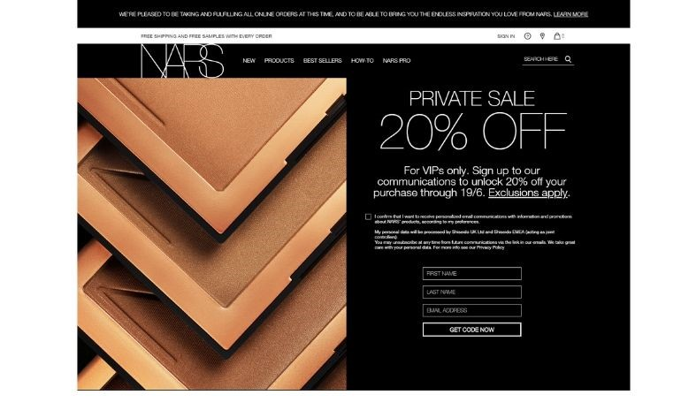 NARS on-site newsletter subscription form