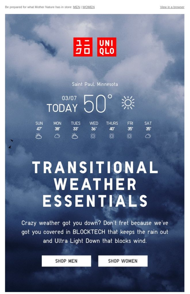 Example of segmented email from fashion brand uniqlo.