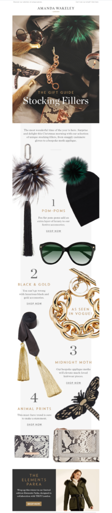 Amanda Wakeley gift guide email design