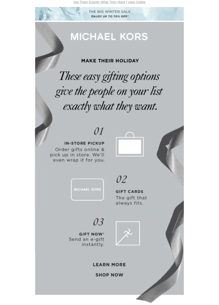 Michael Kors gift guide zig-zag email design
