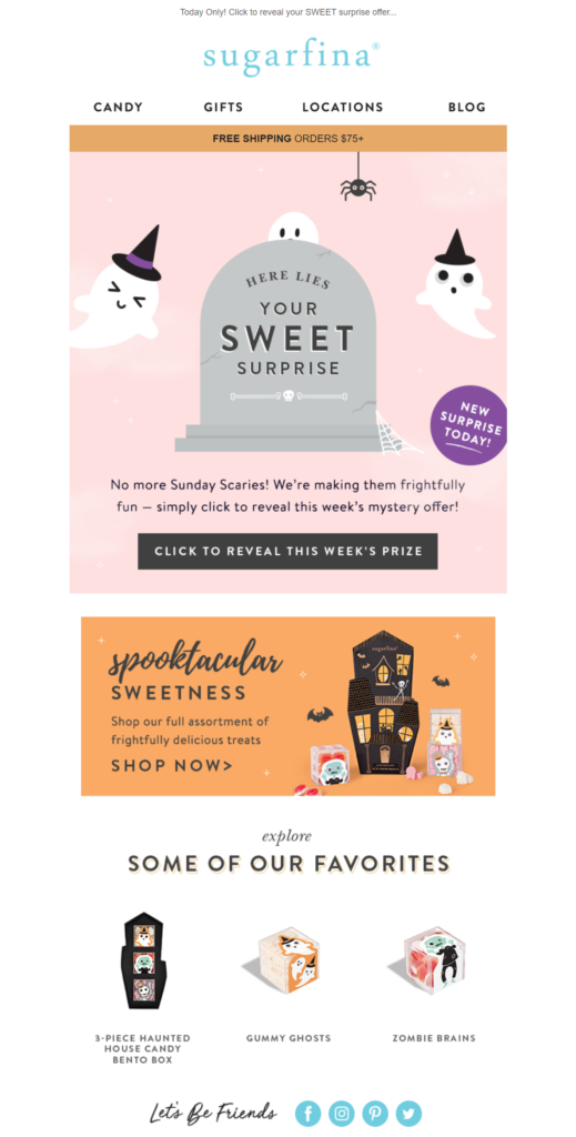 Sugafina Halloween marketing limited time offers