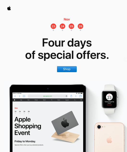 Email example of Apple Black Friday offers