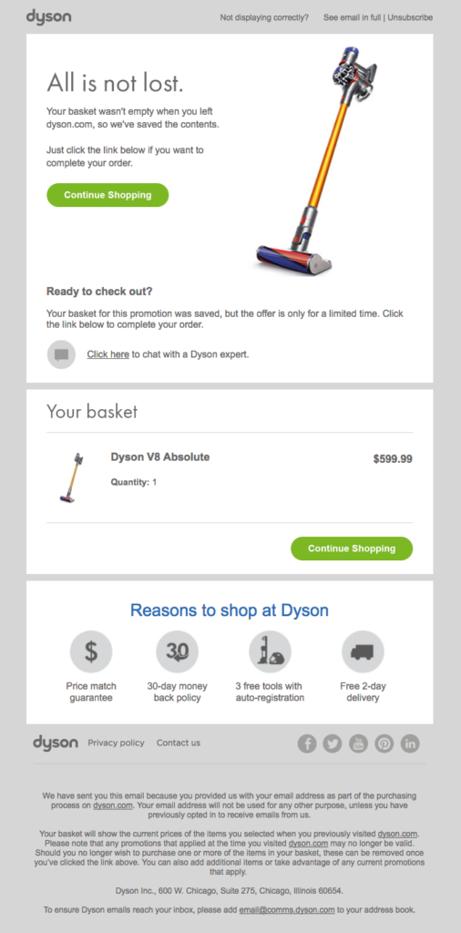 Dyson email marketing example of abandoned cart email