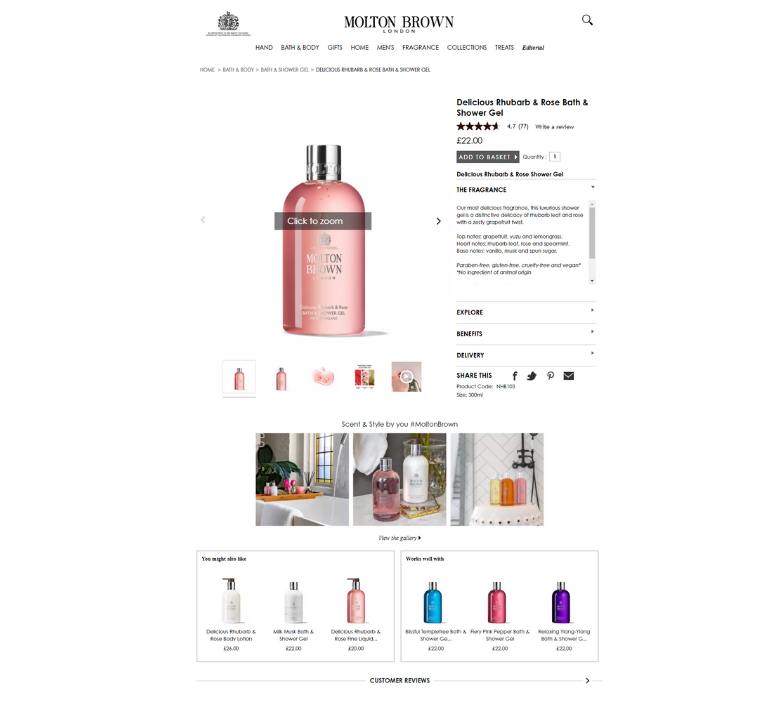Molton Brown - ecommerce marketing tactics product recommendations