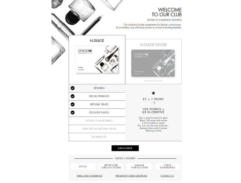 Space NK ecommerce marketing tactic loyalty programs