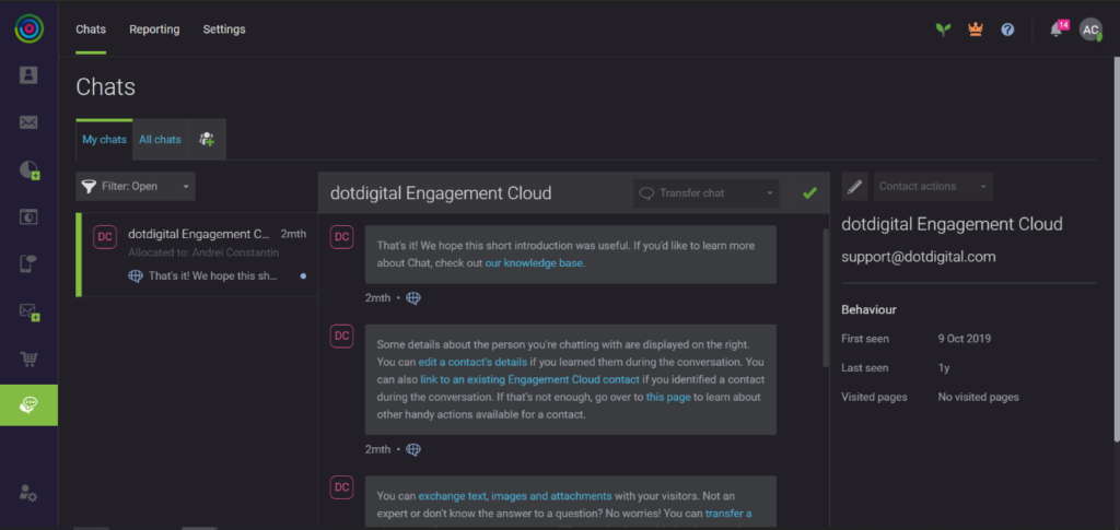 Engagement Cloud in dark mode
