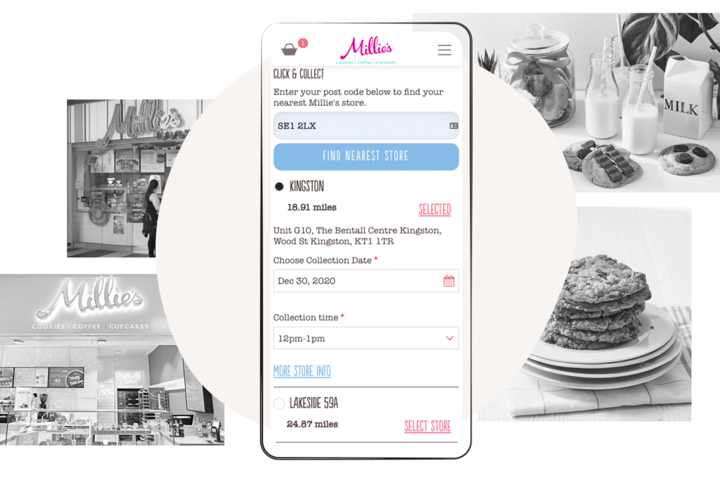 Millie's Cookies omnichannel Click & Collect experience